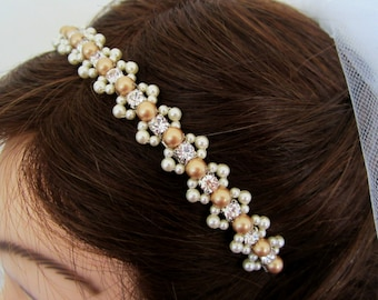 Pearl Headband in White, Ivory, or Gold and Ivory--Delaney