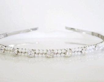 Bridal Headband in White or Ivory pearls and Rhinestones -- Idlewilde