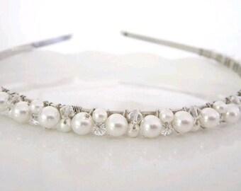 Bridal Headband  Ivory or White Pearl with Swarovski Crystals---Stardust