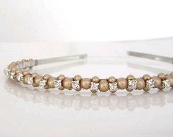 Bridal headband in Vintage Gold with Rhinestones