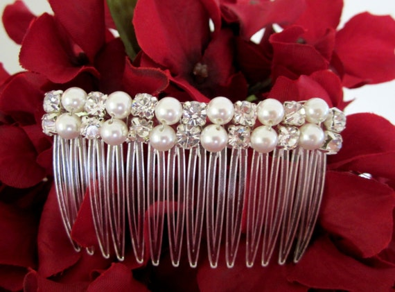 Pearl comb with Rhinestones White or Ivory