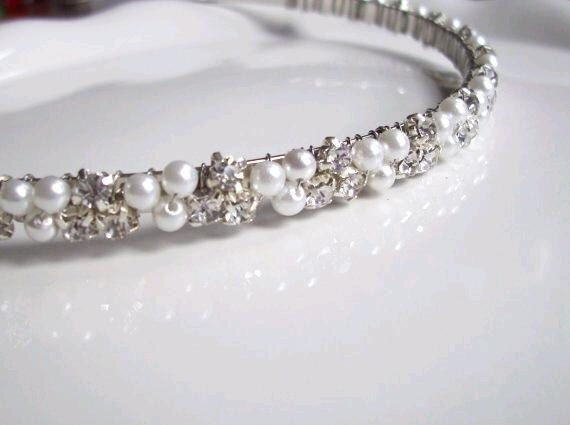Wedding Headband. Pearl and Rhinestone Headband. Pearl Bridal Headband. ISLA
