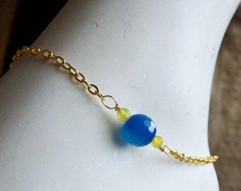 50% OFF Beaded Anklet, Dark Blue Quartz and Olive Jade Anklet on Gold Plated Chain, Cobalt Blue Quartz, Anklet, Etsy Jewelry, Etsy