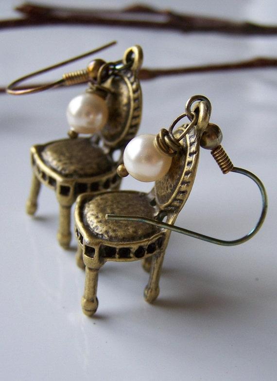 Brass Chairs with Swarovski Glass Pearls