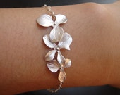 Cascade Orchid Bracelet, STERLING SILVER ADJUSTABLE Bracelet, Wedding Jewelry, Bridesmaid Gifts, Birthday Gift, Everyday Jewelry