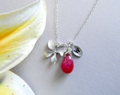 Custom Initial Necklace, Personalized Birthstone Necklace, Monogram Necklace, Bridesmaid Gift, Orchid Jewelry