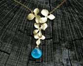 Cascading Orchid Necklace Gemstone GOLD FILLED Birthday Anniversary Wedding Bride Bridesmaid Gift