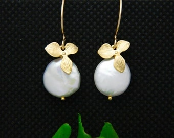 Coin Pearl Earrings, Orchid Dangle Earrings , Gold Earrings, Bridesmaid Gifts, Mothers Jewelry, Christmas Gift