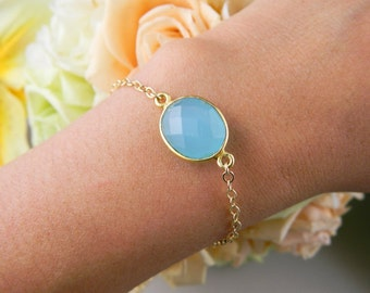 Bezel Aqua Chalcedony bracelet, Gold filled ADJUSTABLE, Bridesmaid Gifts, Wedding Jewelry, Birthday, Anniversary, Simple Everyday Jewelry