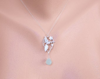 Silver Hummingbird Necklace, Personalized Grandmother Necklace, Birthstone Necklace, Mom, Grandma Necklace, Mother Day Gift for Grandmother