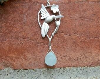 Custom Birthstone Hummingbird Necklace, Grandmother Birthstone Necklace, STERLING SILVER, Birthday Gift, Bird Necklace, Grandmothers Gift