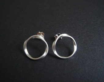 Twisted Hoop Earring STERLING SILVER Post- Birthday Anniversary Gift Everyday Wear
