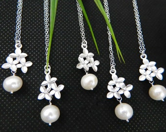 Cherry Blossom Necklace, Bridesmaid Gift, SET of Five, Pearl Necklace, Wedding Party Gift, Bridesmaid Necklace,Maid of Honor, Bridal Party