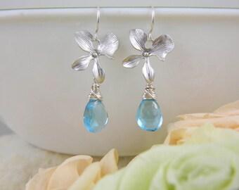 Blue Topaz Earrings, Personalized Birthstone Earrings, Bridesmaid Gift, SILVER Orchid Earrings, December Birthstone, Mom Earring