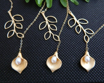 Wedding Lariat Calla Lily Necklace, GOLD Lariat Necklace, Gift Set of THREE, Bridesmaid's Gift, Bridal Party, Junior Bridesmaid Necklace