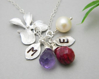 Mother Daughter Necklace, Birthstones Necklace, Personalized Couples Necklace, Mother's Day Necklace, Mother Necklace, Sister Jewelry