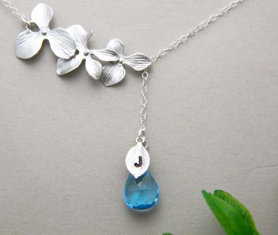Lariat Birthstone Necklace, Initial Necklace, Blue Topaz Necklace, Sterling Silver, Bridesmaid Gifts, Wedding Jewelry, Orchid Jewelry