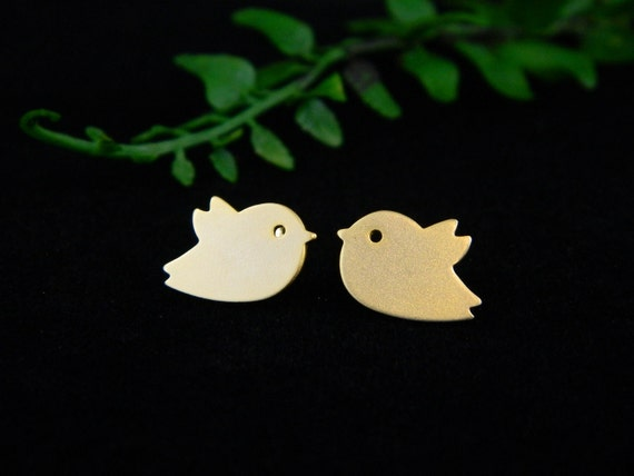Gold Bird Earrings - Cute Stud Earrings, Birthday Gift, Christmas Gift, Bird Jewelry, Everyday Earrings, Dainty Jewelry, Children Earrings