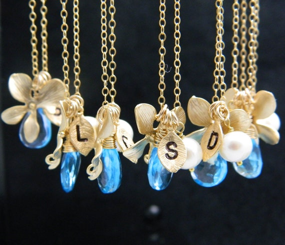 Bridesmaid Necklace, Set of 7, Initial Necklace, Birthstone Necklace, Personalized Bridesmaid Jewelry, Blue Topaz Jewelry,  Bridesmaid  Gift