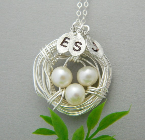 Mother's Day Necklace, Personalized Mothers Necklace, THREE Initial Necklace, Bird Nest Necklace, Mothers Jewelry, Mother Day Gift