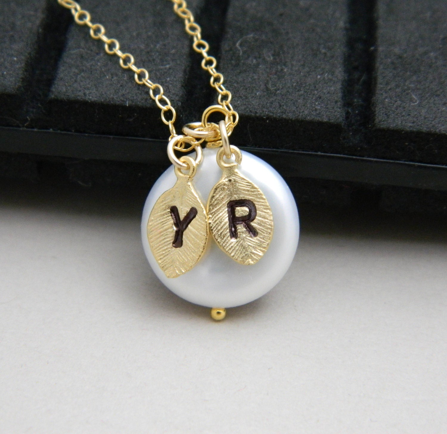 coin pearl initial necklace gold two monogram by