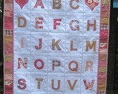 Little girls alphabet wallhanging with storage pockets, alphabet learning tool