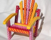 Doll Furniture - Doll Chair in Warm Sunny Colors, Red, Pink, Orange and Yellow