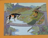Children's Art Print - Framed Vintage Three Billy Goats Gruff Print