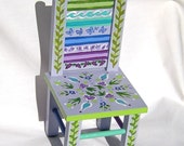 Doll Furniture - Doll Chair with Lavender, Blue and Green Folk Art Designs