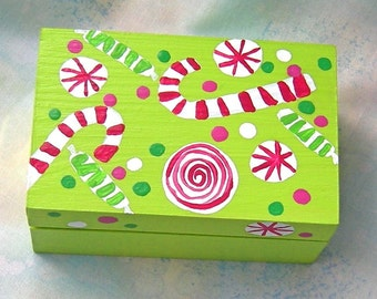 Christmas Treasure Box Hand Painted Wooden Candy Design