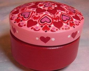 Valentine Hearts Wooden Treasure Box