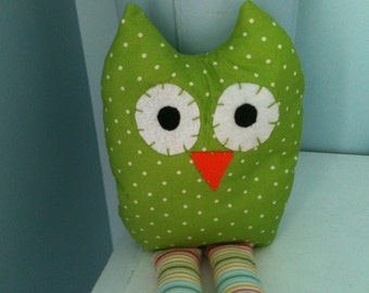 Green Polkadot Stuffed Owl