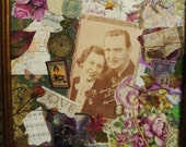 WONDERFUL LIFE- A One of a Kind Framed Nostalgic COLLAGE in Gorgeous Greens and Purples