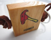 H is for Hammer - Wood Alphabet Block Keychain Zipper Pull