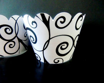 custom cupcake wrappers, black swirls cupcake wrappers, set of 24