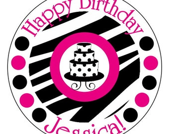 hot pink zebra birthday stickers, personalized zebra party supplies--now in 2 inch, 2.5 inch or 3 inch round, personalized