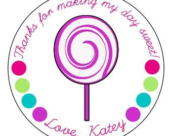 lollipop stickers, candy buffet party, custom lollipop party stickers, personalized candy party labels, swirl lollipop stickers