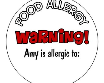 food allergy warning stickers, allergy labels, custom allergy stickers