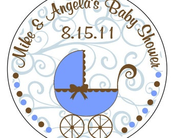 personalized baby shower stickers, baby boy stickers, baby shower labels--3 sizes available