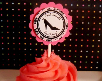 stiletto cupcake toppers, high heel birthday cupcake toppers, pink and black party cupcake toppers, set of 12