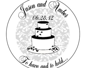 custom wedding stickers, wedding cake labels, bridal shower stickers, to have and to hold stickers