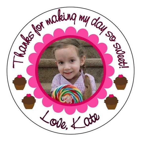 photo cupcake birthday stickers, custom cupcake party supplies, birthday photo stickers, 3 sizes available