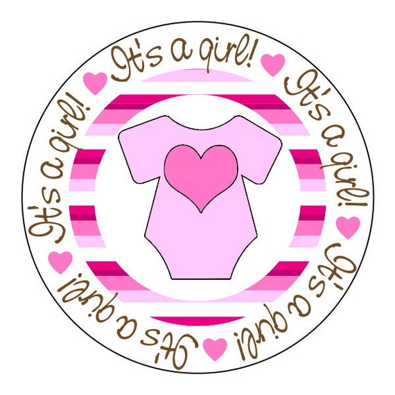 baby shower stickers, baby girl stickers, pink striped stickers, 3 sizes available
