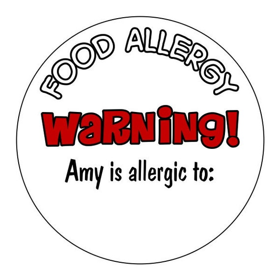food allergy warning stickers, allergy labels, custom allergy stickers, personalized food allergy warning stickers