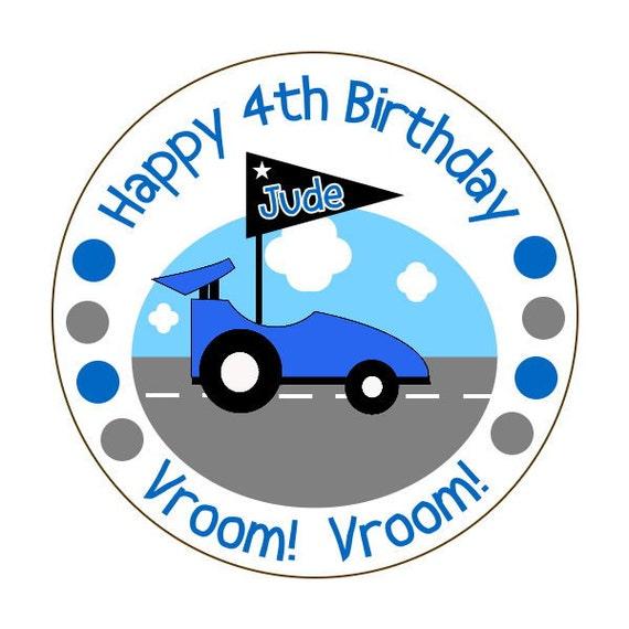 race car birthday stickers, custom boy birthday stickers, personalized car birthday party stickers, 3 sizes available