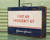 1942 Blue and White Johnson and Johnson First Aid Emergency Kit