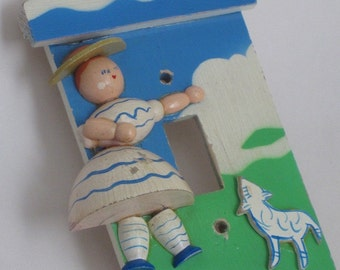 Mary Had a Little Lamb light switch plate Vintage Retro wood hand-painted ON SALE