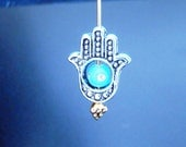5 silver hands of fatima hamsa charms pendants evil eye spacer religious spiritual goddess spirits protection 16mm x 13mm   - C0132-5