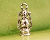 5 silver lantern charms pendants hurricane lamp camping gas light fantasy fairytale 16mm x 8mm - C0360-5