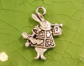 20 silver rabbit charms pendants jester Alice in Wonderland Queen of Hearts bunny hare white tea party double-sided 20mm x 15mm - C0514-20
